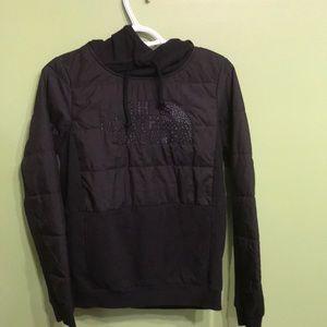 North face women's puffer black hoodie sweatshirt